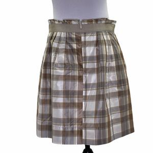 The Limited Tan White Plaid Silk Mini Belt Skirt 6